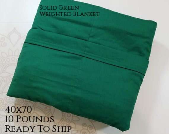 READY to SHIP, Weighted Blanket, 40x70-10 Pounds, Green Cotton Front, Green Cotton Back, Sensory Blanket, Calming Blanket,