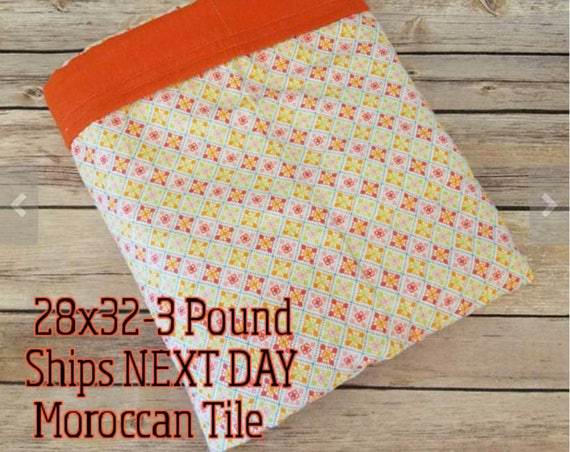 Moroccan, Pattern, 3 Pound, WEIGHTED BLANKET, Ready To Ship, 3 pounds, 28x32, for Autism, Sensory, ADHD, Calming, Anxiety,