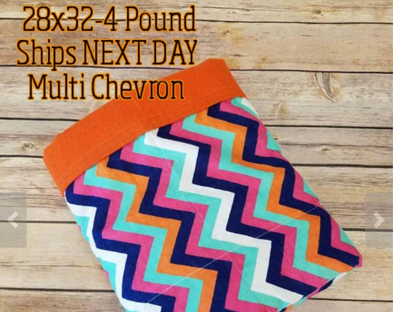 Chevron, 4 Pound, WEIGHTED BLANKET, Ready To Ship, 4 pounds, 28x32 for Autism, Sensory, ADHD, Calming, Anxiety,