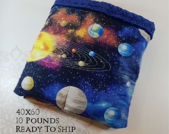 READY to SHIP, Weighted Blanket, 40x60-10 Pounds, Solar System Front, Navy Minky Back, Sensory Blanket, Calming Blanket,
