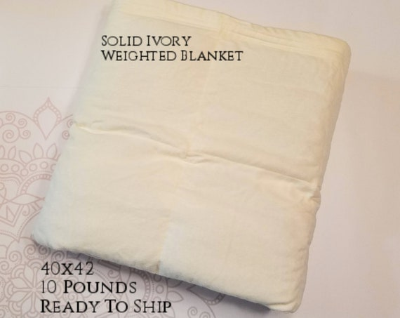 READY to SHIP, Weighted Blanket, 40x42-10 Pounds, Ivory Cotton Flannel Front, Ivory Cotton Flannel Back, Sensory Blanket, Calming Blanket,