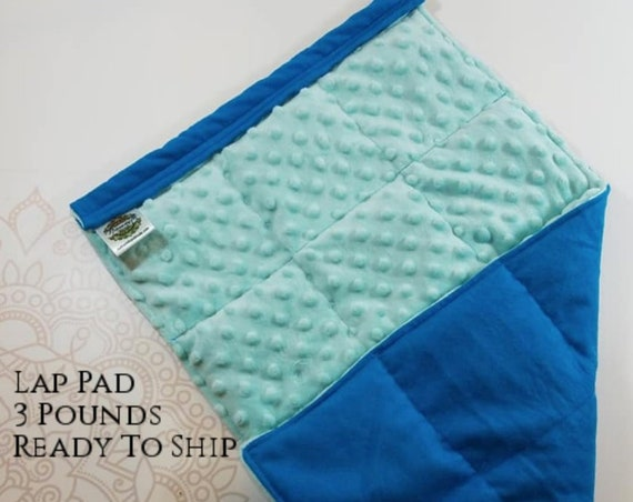 READY TO SHIP,  Turquoise Cotton Front, Mint Minky Back, Weighted, Lap Pad/Weighted Blanket, 3 pounds, 14x22, Small Weighted Blanket