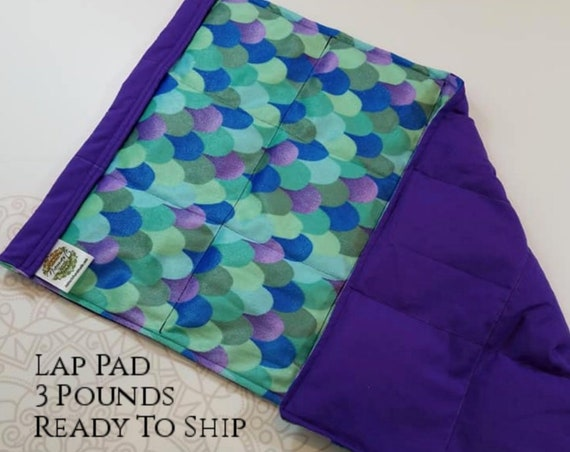 READY TO SHIP, Mermaid Tail Minky, Purple Woven Cotton, Weighted, Lap Pad/Weighted Blanket, 3 pounds, 14x22, Small Weighted Blanket