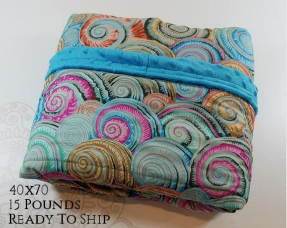 READY to SHIP, Weighted Blanket, 40x70-15 Pounds, Multi Colored Shells, Aqua Minky Back, Sensory Blanket, Calming Blanket,