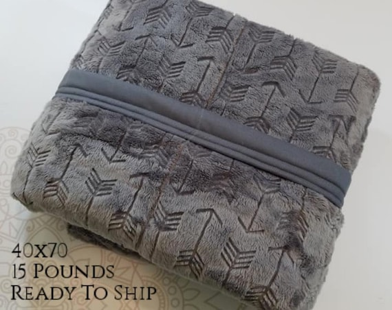 READY to SHIP, Weighted Blanket, 40x70-15 Pounds, Gray Embossed Arrow Minky Front, Gray Woven Cotton Back, Sensory Blanket, Calming Blanket,