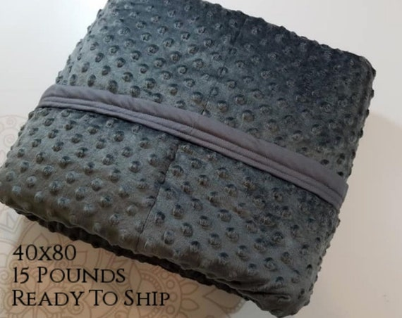 READY to SHIP, Weighted Blanket, 40x80-15 Pounds, Charcoal Gray Minky Front, Gray Cotton Back, Sensory Blanket, Calming Blanket,