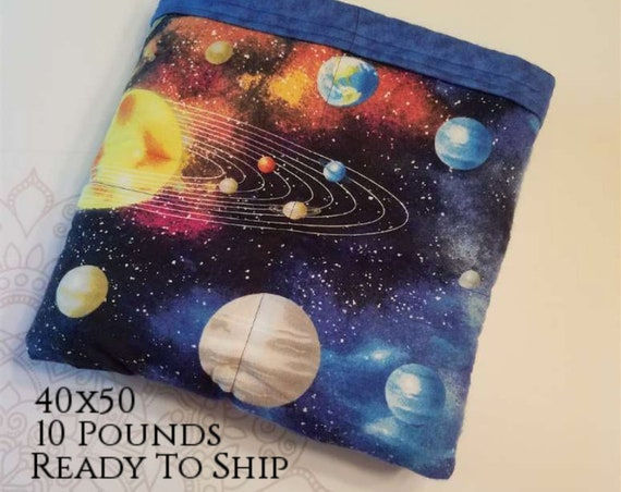 READY to SHIP, Weighted Blanket, 40x50-10 Pounds, Solar System Flannel Front, Blue Tie Dye Flannel Back, Sensory Blanket, Calming Blanket,