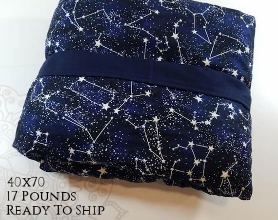 READY to SHIP, Weighted Blanket, 40x70-17 Pounds, Glow in the dark Constellation Cotton Front, Navy Woven Cotton Back, Sensory Blanket