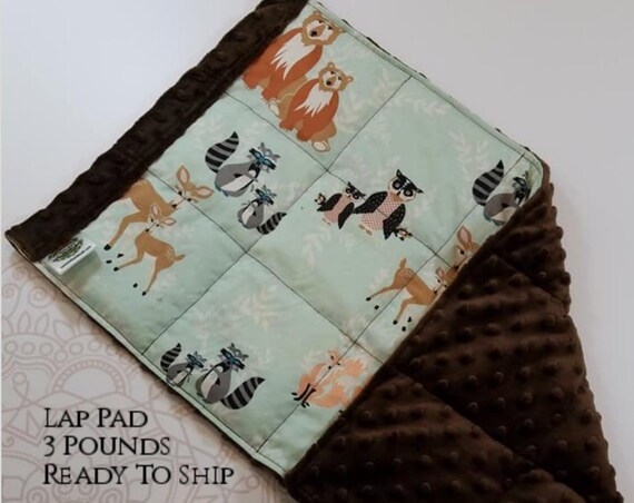 READY TO SHIP, Woodland Woven Cotton, Brown Minky Back, Weighted, Lap Pad/Weighted Blanket, 3 pounds, 14x22, Small Weighted Blanket