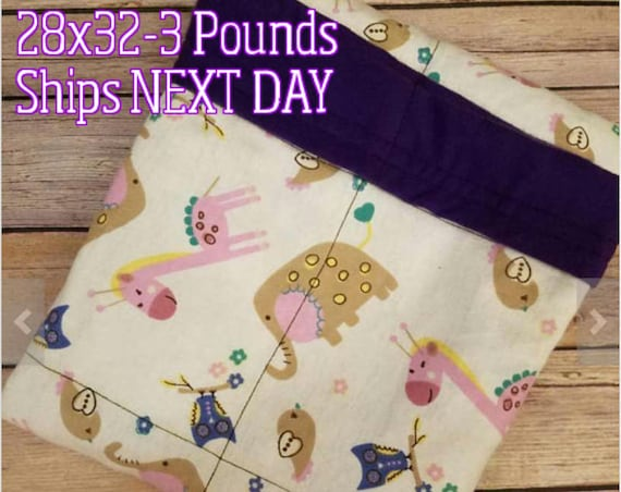 Elephant, Giraffe, 3 Pound, WEIGHTED BLANKET, Ready To Ship, 3 pounds, 28x32, for Autism, Sensory, ADHD, Calming, Anxiety,