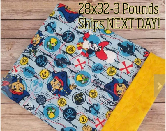 Pirate, 3 Pound, WEIGHTED BLANKET 3 pounds, 28x32, for Autism, Sensory, ADHD, Calming, Anxiety,