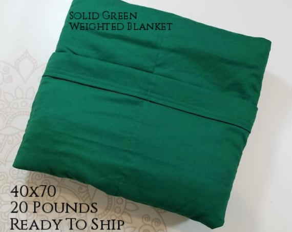 READY to SHIP, Weighted Blanket, 40x70-20 Pounds, Green Cotton Front, Green Woven Cotton Back, Sensory Blanket, Calming Blanket,