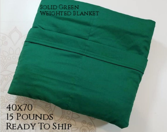 READY to SHIP, Weighted Blanket, 40x70-15 Pounds, Green Cotton Front, Green Woven Cotton Back, Sensory Blanket, Calming Blanket,