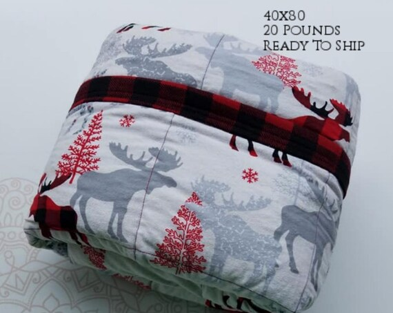 READY to SHIP, Weighted Blanket, 40x80-20 Pounds, Moose Cotton Flannel, Red Black Buffalo Check Back, Sensory Blanket, Calming Blanket,