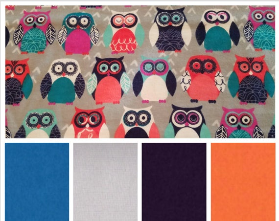 Colorful Owls, Weighted Blanket, Cotton Flannel, Up to Twin Size, 3 to 20 Pounds, Adult Weighted Blanket, SPD, Autism, Calming Blanket