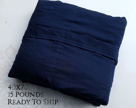 READY to SHIP, Weighted Blanket, 40x70-15 Pounds, Navy Woven Cotton, Sensory Blanket, Calming Blanket,