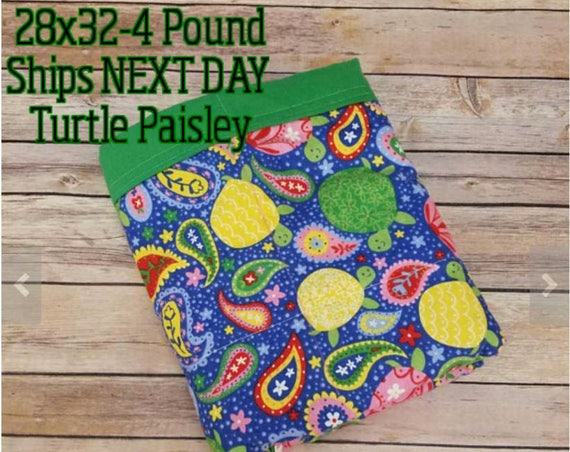 Turtle, Paisley, 4 Pound, WEIGHTED BLANKET, Ready To Ship, 4 pounds, 28x32 for Autism, Sensory, ADHD, Calming, Anxiety,