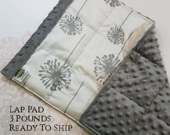 READY TO SHIP, Dandelion Cotton Front, Gray Minky Back, Weighted, Lap Pad/Weighted Blanket, 3 pounds, 14x22, Small Weighted Blanket