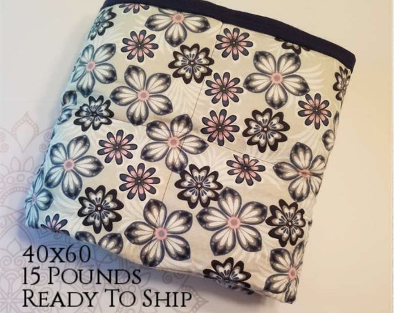READY to SHIP, Weighted Blanket, 40x60-15 Pounds, Pink Navy Gray Flower Front, Navy Cotton Flannel Back, Sensory Blanket, Calming Blanket,