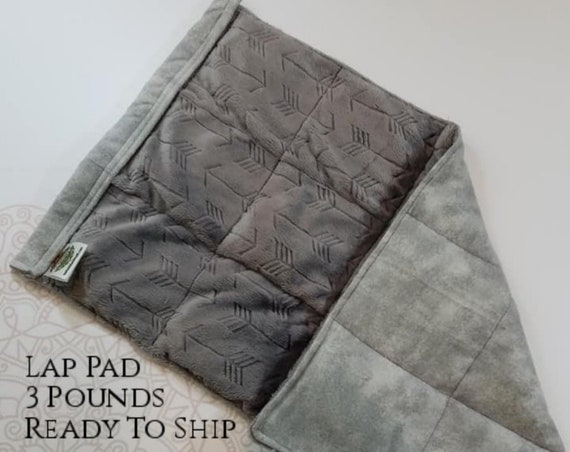READY TO SHIP, Embossed Arrow Minky, Gray Tie Dye Back, Weighted, Lap Pad/Weighted Blanket, 3 pounds, 14x22, Small Weighted Blanket