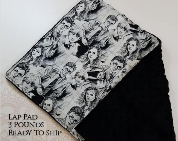 READY TO SHIP, Character Woven Cotton, Black Minky Back, Weighted, Lap Pad/Weighted Blanket, 3 pounds, 14x22, Small Weighted Blanket