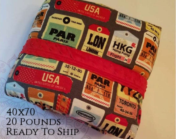 READY to SHIP, Weighted Blanket, 40x70-20 Pounds, Luggage Tag Flannel, Red Minky Back, Sensory Blanket, Calming Blanket,