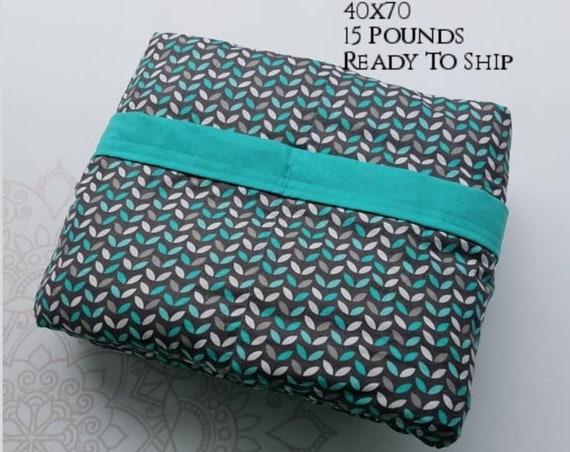 READY to SHIP, Weighted Blanket, 40x70-15 Pounds, Gray Mint Cotton Front, Teal Woven Cotton Back, Sensory Blanket, Calming Blanket,