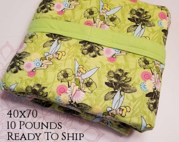 READY to SHIP, Weighted Blanket, 40x70-10 Pounds, Fairy Cotton Flannel Front, Lime Cotton Flannel Back, Sensory Blanket, Calming Blanket,