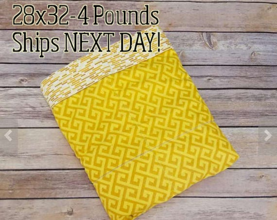 Yellow Greek, 4 Pound, WEIGHTED BLANKET, 4 pounds, 28x32 for Autism, Sensory, ADHD, Calming, Anxiety,