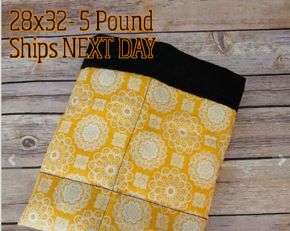 Orange, Damask, 5 Pound, WEIGHTED BLANKET, 5 pounds, 28x32 for Autism, Sensory, ADHD, Calming, Anxiety,