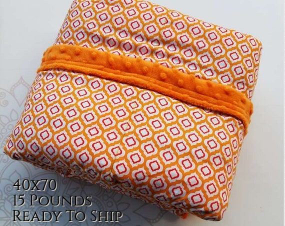 READY to SHIP, Weighted Blanket, 40x70-15 Pounds, Red Orange Moroccan, Orange Minky Back, Sensory Blanket, Calming Blanket,