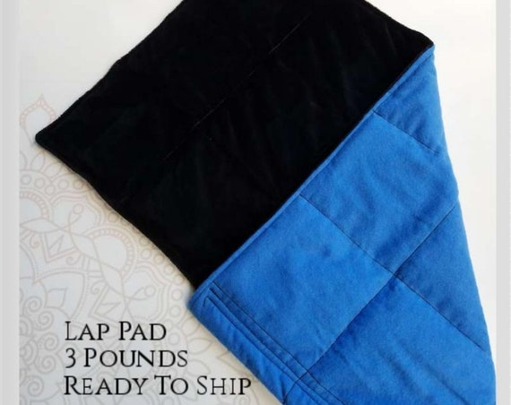 READY TO SHIP, Royal Blue, Black Smooth Minky, Weighted, Lap Pad/Travel Weighted Blanket, 3 pounds, 14.5x22, Small Weighted Blanket