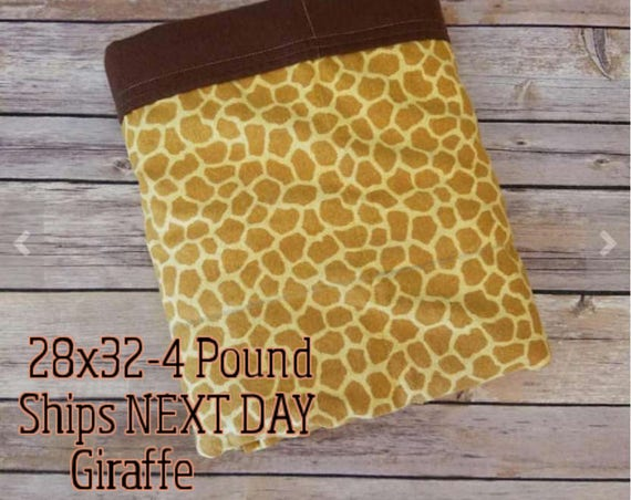Giraffe, 4 Pound, WEIGHTED BLANKET, Ready To Ship, 4 pounds, 28x32 for Autism, Sensory, ADHD, Calming, Anxiety,