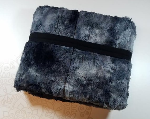 READY to SHIP, 40x50, 8 Pounds, Weighted Blanket, Black Galaxy Minky, Black Cotton Flannel Back, Sensory Blanket, Calming Blanket,