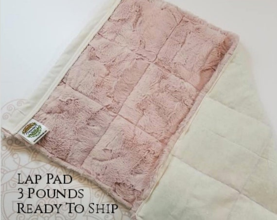 READY TO SHIP, Pale Pink Cuddle Hide Minky, Ivory Woven Cotton, Weighted, Lap Pad/Weighted Blanket, 3 pounds, 14x22, Small Weighted Blanket