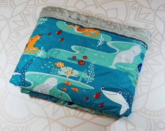 READY to SHIP, 40x50, 8 Pounds, Weighted Blanket, Movie, Gray Minky Back, Sensory Blanket, Calming Blanket,