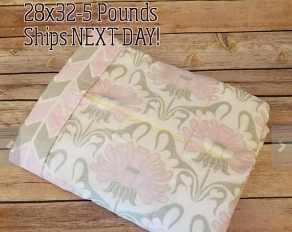 Pink Gray Flowers, 5 Pound, WEIGHTED BLANKET, Ready To Ship, 5 pounds, 28x32 for Autism, Sensory, ADHD, Calming, Anxiety,