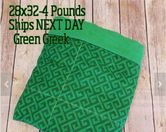 Green, Greek, 4 Pound,WEIGHTED BLANKET, 4 pounds, 28x32, for Autism, Sensory, ADHD, Calming, Anxiety,