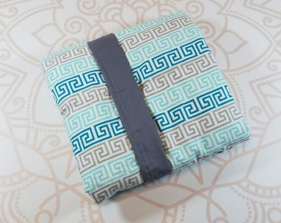 Ready To Ship, 4 Pound, WEIGHTED BLANKET, Teal Greek Theme, Ready To Ship, 4 pounds, 28x32 for Autism, Sensory, ADHD, Calming, Anxiety,