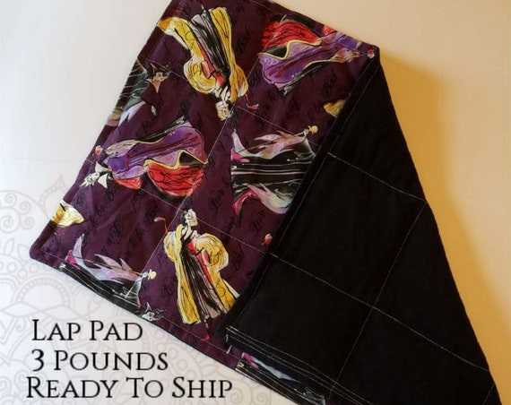 READY TO SHIP, Washable Weighted Lap Pad/Small Blanket/Travel Weighted Blanket 3 pounds.  14.5x22 Ready to Ship Villain Theme