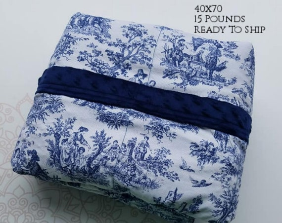 READY to SHIP, Weighted Blanket, 40x70-15 Pounds, Navy Toile, Navy Minky Back, Sensory Blanket, Calming Blanket,