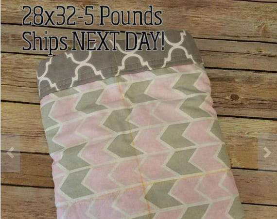 Pink Gray Arrow, 5 Pound, WEIGHTED BLANKET, Ready To Ship, 5 pounds, 28x32 for Autism, Sensory, ADHD, Calming, Anxiety,