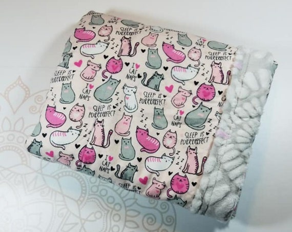 Ready To Ship, 4 Pound, 28x32, Sleepy Cats, Pink Gray Embossed Minky, WEIGHTED BLANKET, 28x32, for Autism, Sensory, ADHD, Calming, Anxiety,