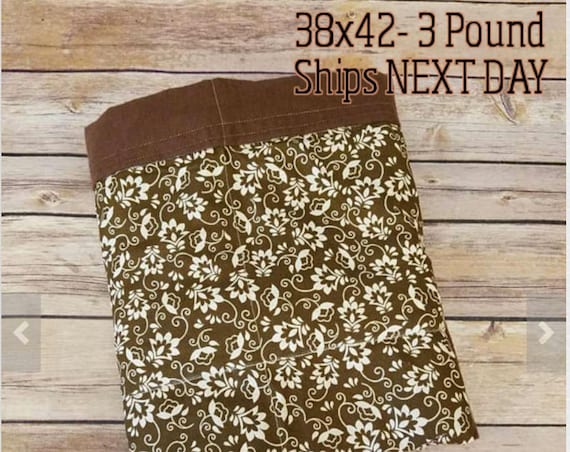 Brown Floral,3 Pound, WEIGHTED BLANKET, 3 pounds, 28x32, for Autism, Sensory, ADHD, Calming, Anxiety,