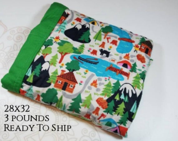 Camping, 3 Pound, WEIGHTED BLANKET, Ready To Ship, 3 pounds, 28x32 for Autism, Sensory, ADHD, Calming, Anxiety,