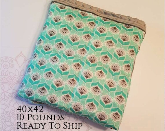 READY to SHIP, Weighted Blanket, 40x42-10 Pounds, Mint and Gray Flowers Front, Gray Minky Back, Sensory Blanket, Calming Blanket,