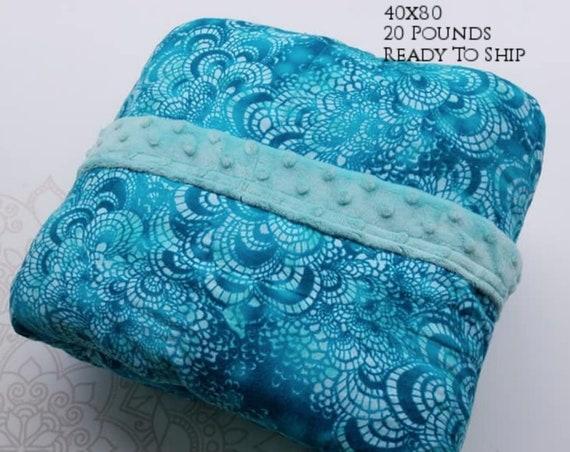 READY to SHIP, Weighted Blanket, 40x80-20 Pounds, Teal Mosaic Tile Cotton Flannel, Mint Minky Back, Sensory Blanket, Calming Blanket,