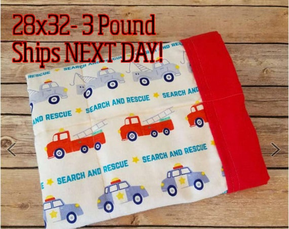 Firetruck, Police, Helicopter, 3 Pound, WEIGHTED BLANKET, Ready To Ship, 3 pounds, 28x32 for Autism, Sensory, ADHD