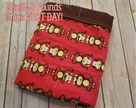 Monkey, 3 pound, WEIGHTED BLANKET, Ready To Ship, 3 pounds, 28x32 for Autism, Sensory, ADHD, Calming, Anxiety,