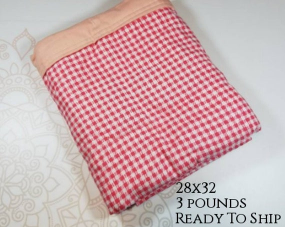 Coral Gingham, 3 Pound, WEIGHTED BLANKET, 3 pounds, 28x32 for Autism, Sensory, ADHD, Calming, Anxiety,
